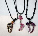 Import cz necklace jewelry agent supplies Foot and fancy shoe designed cz pendants hanging from black beaded necklace