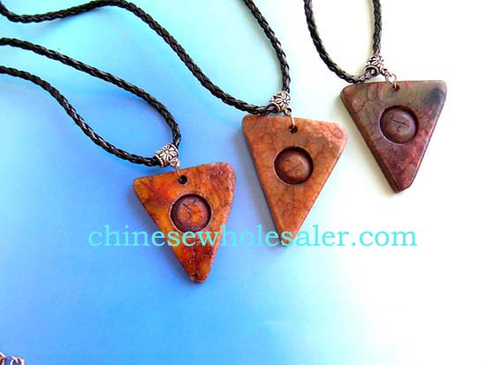 Quality jade pendants supplied by China online gift store. Twisted black cord necklace with triangle shape pendant carved-in circle in the middle