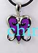 Buy wholesale heart shaped jewelry gifts. Black cord fashion necklace with purple colored heart designed pendant.