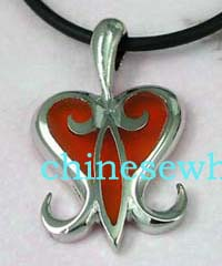 Wholesale prices on costume style jewelry from China export company. Black cord fashion necklace with orange colored heart designed pendant.