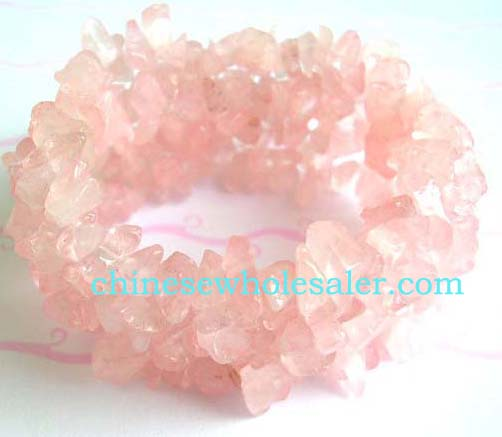 Wholesale crystal fashion wear company distributes Fashion wide stretchy bracelet with multi light pink crystal chips inlaid, one size fits all      .