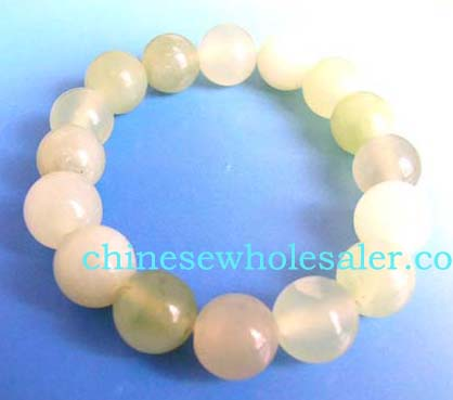Discount gemstone bracelets supplied by online jewelry wholesaler. Fashion wide stretchy bracelet with tranlucent round beads, one size fits all.