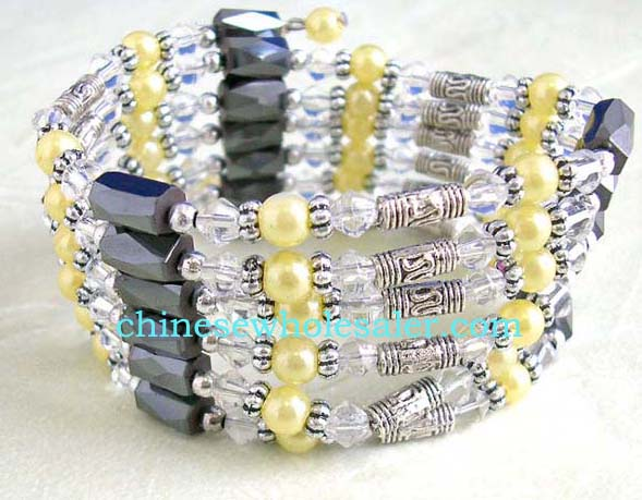 Online China supplied therapeutic jewelry store. Hematite wrap with long designed silver beads, flower beads, clear rhinestones, yellow pearl like beads, and faceted cylinder shaped magnetic hematite beads inlaid. Works well as a necklace, bracelet, choker or anklet