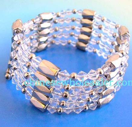 Buy online hematite jewelry supplied by China importer. In style hematite wrap with silver round beads, clear rhinestone gems, and faceted cylinder shaped magnetic hematite beads inlaid. Works well as a necklace, bracelet, choker or anklet
