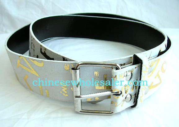 Belts made in China exported for wholsale purchase online. White imitation leather fashion belt with gold letter design