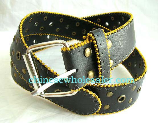 Online China wholesale fashion accessory sale for men and women. Imitation black leather belt with grey stitching and gold colored beads along side. Metal studs throughout belt along with metal lined holes to cinch up.