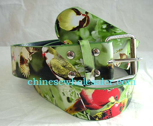 Clothing accessories at wholesale prices from China manufacturing expoter. Apple greenish imitation leather belt with summer garden birds flying animal decor