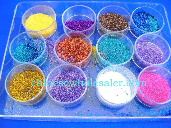 Online China warehouse distributors supplies mail art decorations.Mini sparkle dotted nail decor, included 12 color in a box