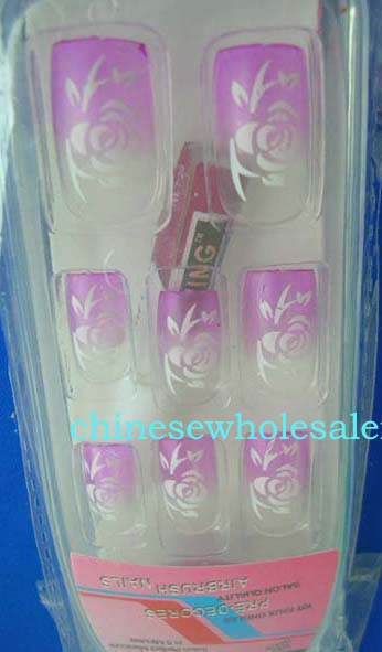 Online China wholesaler supplying manicure set supplies. Clear and purple artificial nails with white rose design, included 12 nature nail