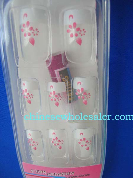 Acrylic nail treatment supplies distributed from international importing dealer. Artificial nails art kit with pink Sakura flower design, included 12 nature nails, one glue and application on back