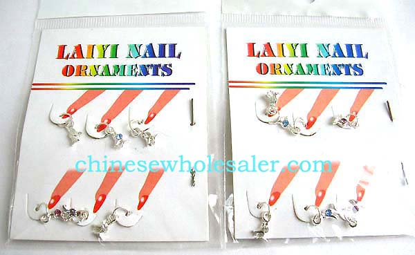 China wholesale gift ideas for salon style manicure products. Rabbit shape finger nail art charms with inlaid colored gem