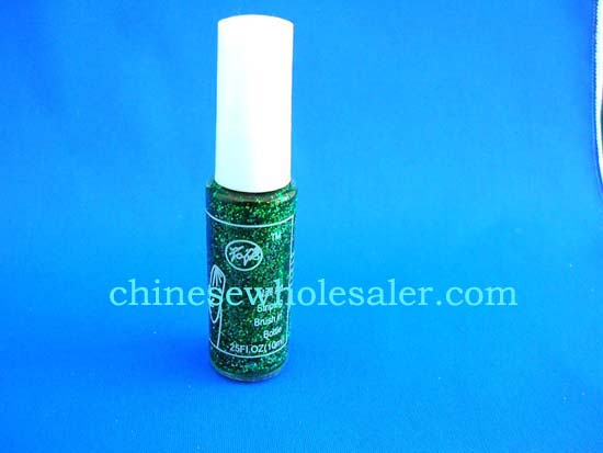 Online China distribution supplies nail art products wholesale. Green glitter nail polish.