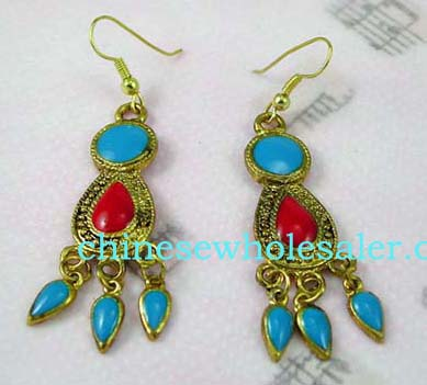 Online China wholesale importing agents supply Simulated gold plated fish hook earrings with red pearl shaped stone in center and turquoise circular stone above, below dangle three pointed oval shaped stones.