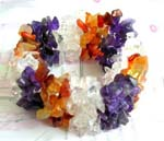 Costume wholesale bracelet jewely distributor supply Fashion wide stretchy bracelet with multiple purple, clear, and orange crystal chips inlaid