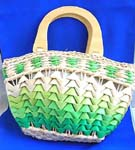 New designed wholesale summer handbag sold wholesale. Multi green straw hand bag with double wooden handle,zipper closure and inner pocket design