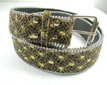 Wholesale clothing supplied by China manufacturing dealer. Brown belt with yellow circle designs and round silver beads that outline.
