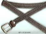 Wholesale fashion accessies imported from China manufacturing outlet. Imitation brown leather belt encircled with chainmail and silver gem studded buckle