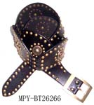 Direct from China fun fashion belts supplied by distributor. Imitation leather and copper colored studded, brown belt with metallic circle design and circular strap in dotted pattern.