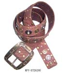 Wholesale priced China manufactured fashion accesory for sale. Pink imitation leather belt with copper colored studs embedded in strap as well as silver colored circles inlaid with gems. Belt has large copper colored buckle with dotted and horse shoe designs.