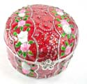 Enamel jewelry box motif pink and white flower in triple section with enamel in red color