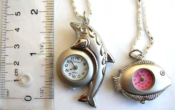 China company supplies fashion watch necklace, chain necklace and fish design watch pendant