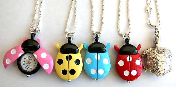 Lovely fashion necklace watch from China distribution company. Chain necklace has lady bug or turtle design watch pendant