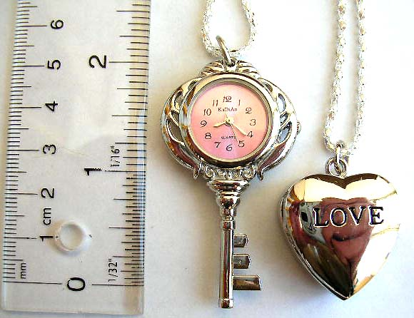 Necklace watch wholesaler supplier in China offers key watch necklace and heart love watch jewelry necklace