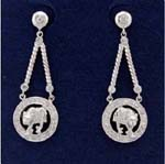 Wholesale Cz costume jewelry distribution business sells fashion earrings. Designer inspired earings with animal figure at center of circle and cz stones attached at bottom of chain and inlaid in the stud.