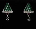 Christamas gift ideas from online outsourcing jewelry distributors. Triangular shaped earings created from four rows of emerald green cz stones and clear cz chrystals as final row. Suspended below is a ruby cz stone with rhodium plated ball.