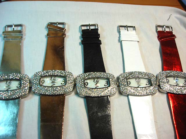 Wholesale gift watches - Large gemstone framed fashion watch with wrist strap
