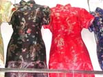 Women's silk dress with dragon and rose Chinese hand craft thread work design
