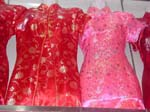 Chinese women's body shape floral dress with embroidered design