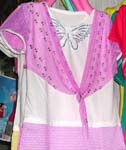Butterfly summer lady's top with 2 pieces combined in 1 piece in purple color