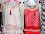 Long lady's cotton tank top with diamond shape pattern lace design