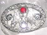 Clear and red cz mystic belt buckle