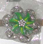 Green flower buckle with marcasite stone and clear cz design