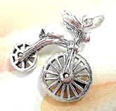 Wheel movable bicycle  sterling silver pendant