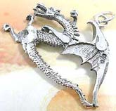 Cut-out flying dragon design sterling silver pendant