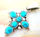 Multi mini rounded turquoise stone forming central square design cross trendy fashion design sterling silver pendant