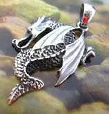 Carved-in body decor flying dragon design 925. sterling silver pendant