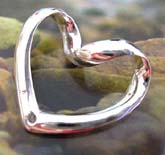handcrafted heart love sterling silver epndant with curve top