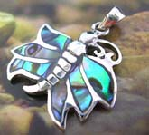 925. sterling silver pendant with 6 mini abalone seashell inlaid butterfly