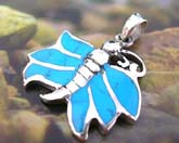 925. sterling silver pendant with 6 mini turquoise stone inlaid butterfly