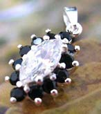 Multi mini black cz stone forming olive shape sterling silver pendant holding a large claer cz stone at center