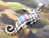 Sea horse pendant made of 925. sterling silver with 3 mini color seashell chips embedded