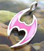 Tattoo figure design 925. sterling silver pendant with pinkish seashell inlaid