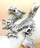 Oriental cartoon running dragon design 925. sterling silver pendant