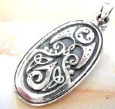 Oval shape  sterling silver pendant with multi Celtic mystic sign descor in middle
