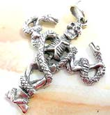 Cut-out snake on skeleton design sterling silver pendant