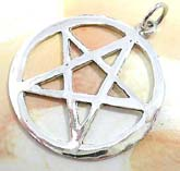 cut-out star in circle  sterling silver pendant